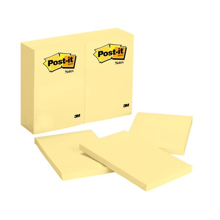 Post-it Notes, 4 in x 6 in, Canary Yellow, Single Pack