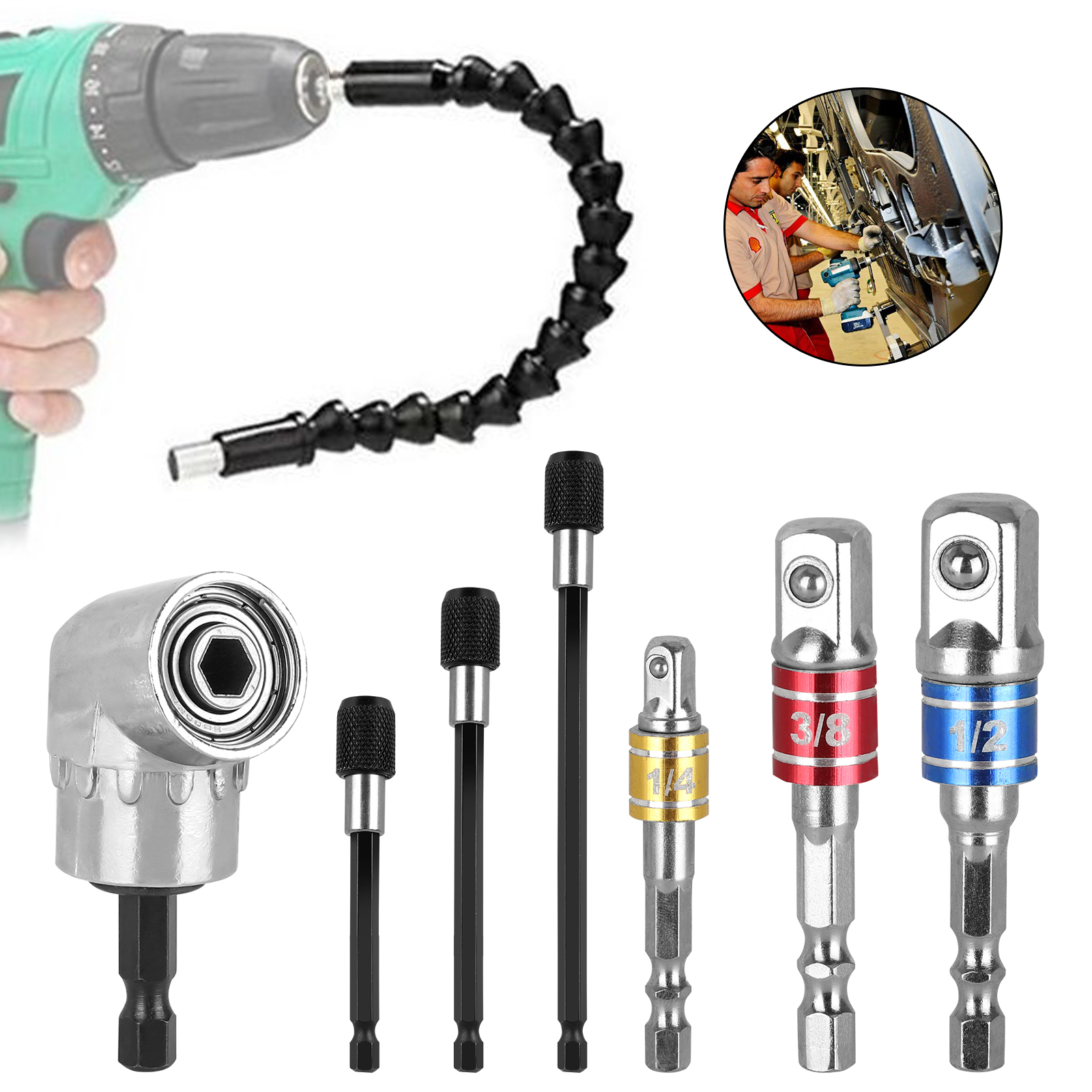 "4Pcs//set 1//4/'/' 3//8/"" 1//2/"" Right Angle Drill Adapter Shank Impact Driver Hex Bit ."