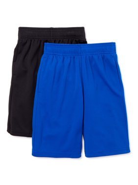 Athletic Works Boys Core DriWorks 2-Pack Shorts, Sizes 4-18 & Husky