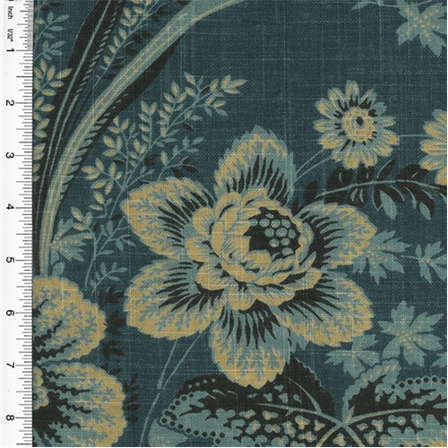 Designer Cotton Stonington Blue Floral Print Home Decorating Fabric, Fabric By the Yard