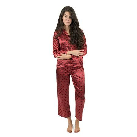 5dad08b744 Leveret - Leveret Womens Pajamas Christmas Satin Pajamas 2 Piece Pajama Set  Hearts Size Medium - Walmart.com