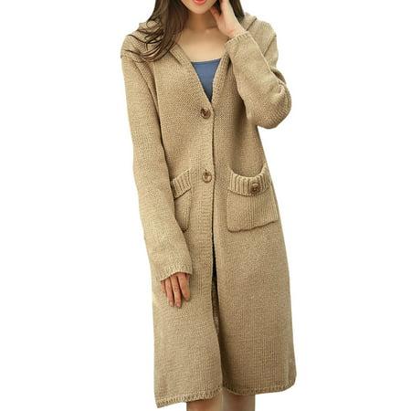 Women's Button Up Hooded Sweater Coat Beige (Size M / 8) (Burton Hood Jacket)