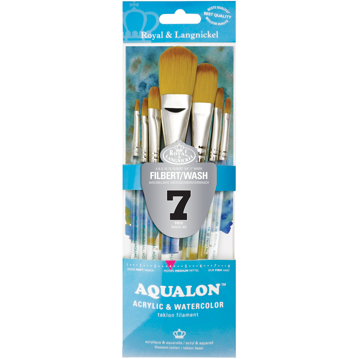 Aqualon Filbert Brush Set-7/Pkg