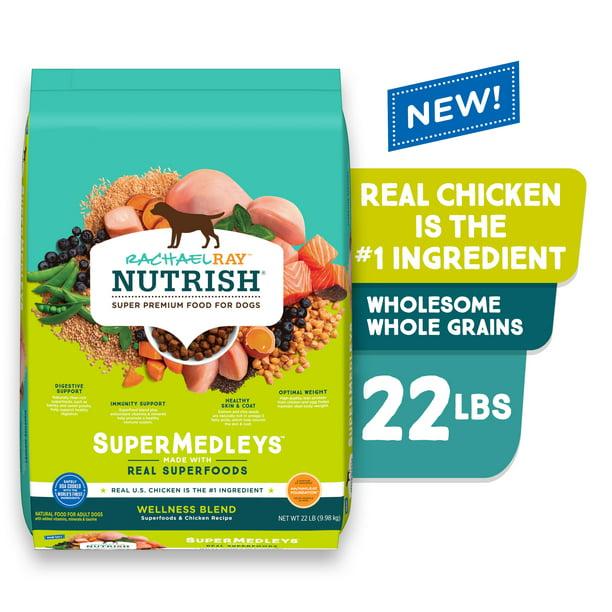 Rachael Ray Nutrish SuperMedleys Wellness Blend Premium Dry Dog Food, Chicken With Salmon & Superfoods, 22-Pound Bag