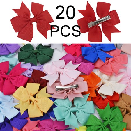 Fascigirl Set of 20 Chiffon Boutique Grosgrain Ribbon Pinwheel Hair Bows Clips for Baby Girls Teens Toddlers Newborn](Chiffon Bows)