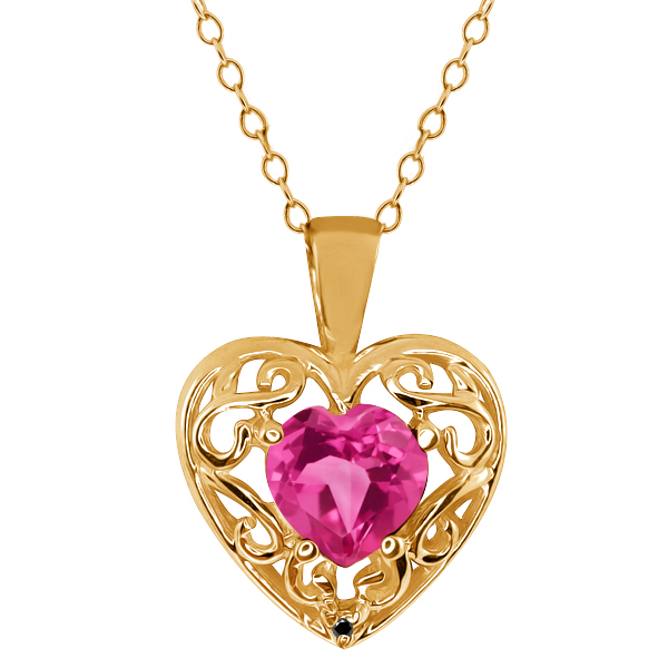 0.91 Ct Heart Shape Pink Mystic Topaz Black Diamond Gold Plated Silver Pendant