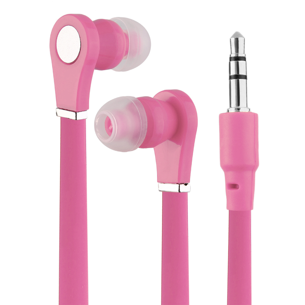 5 PCS Pink Earbuds Earphones In-Ear Sound Isolating Headphones Flat Cable for Phone MP3
