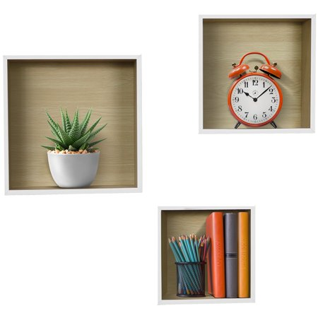 Sorbus Floating Wood Box Shelves - Cube/Square Frame Desing for photos, Decorative Items, and Much More (Set of 3, White)