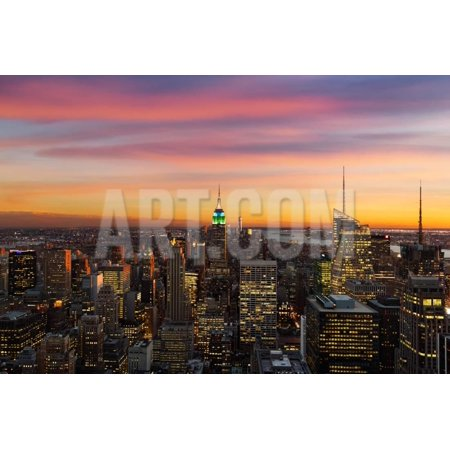 New York State Bird - NEW YORK CITY - SEPTEMBER 6: New York City Cityscape Birds Eye View at Sunset with Empire State Bui Print Wall Art By beboy