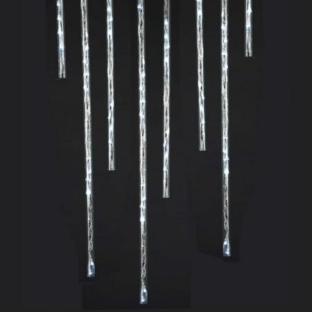 set of 9 winter meteor snow shower 6 function led tube christmas lights white - Meteor Christmas Lights