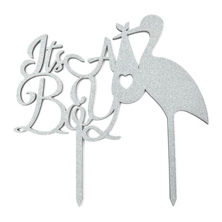 It's A Boy Baby Shower Glitter Cake Topper, 6-1/2-Inch, Silver (Baby Boy Cakes For Showers)