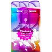 ($32 Value) RAINBOW ROVERS Makeup Remover Cloths   Reusable & Ultra-fine Makeup Towels   Suitable for All Skin Types   Removes Makeup with Just Water   Bonus Waterproof Bag   Set of 3   Wild Lavender