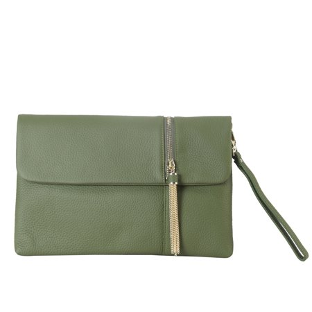Diophy  Geninue Leather Fashionable Clutch With Metal Tassel Décor and Zipper Décor On Top