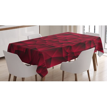 Maroon Tablecloths (Maroon Decor Tablecloth, Modern Geometric Contemporary Art Wave Like Shapes with Abstract Backdrop Image, Rectangular Table Cover for Dining Room Kitchen, 52 X 70 Inches, Maroon, by)