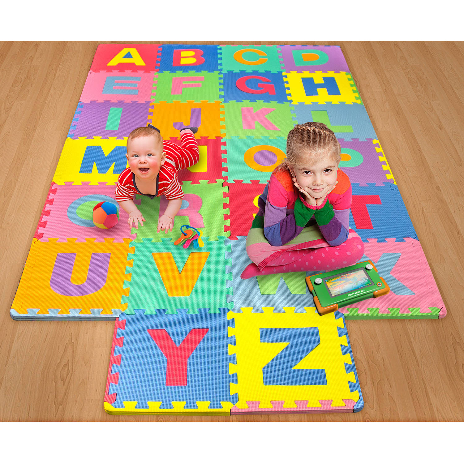 26-Piece Foam Floor Alphabet Puzzle Mat for Kids, Multi-color by GGI International