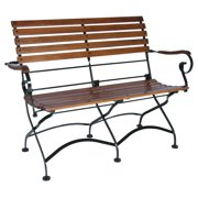 Furniture Designhouse French Veranda Grand Cafe 2 Seat Folding Bench with European Chestnut Wood Slats
