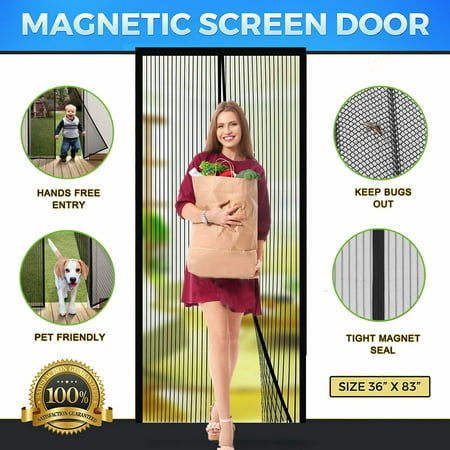 Magnetic Screen Door Mesh with Heavy Duty Mesh Curtain and Full Frame Hook&Loop Magic mesh instant screen door for front door and home outside Fits Door Size up to 36