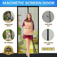 """Magnetic Screen Door Mesh with Heavy Duty Mesh Curtain and Full Frame Hook&Loop Magic mesh instant screen door for front door and home outside Fits Door Size up to 36""""-83"""" Max"""