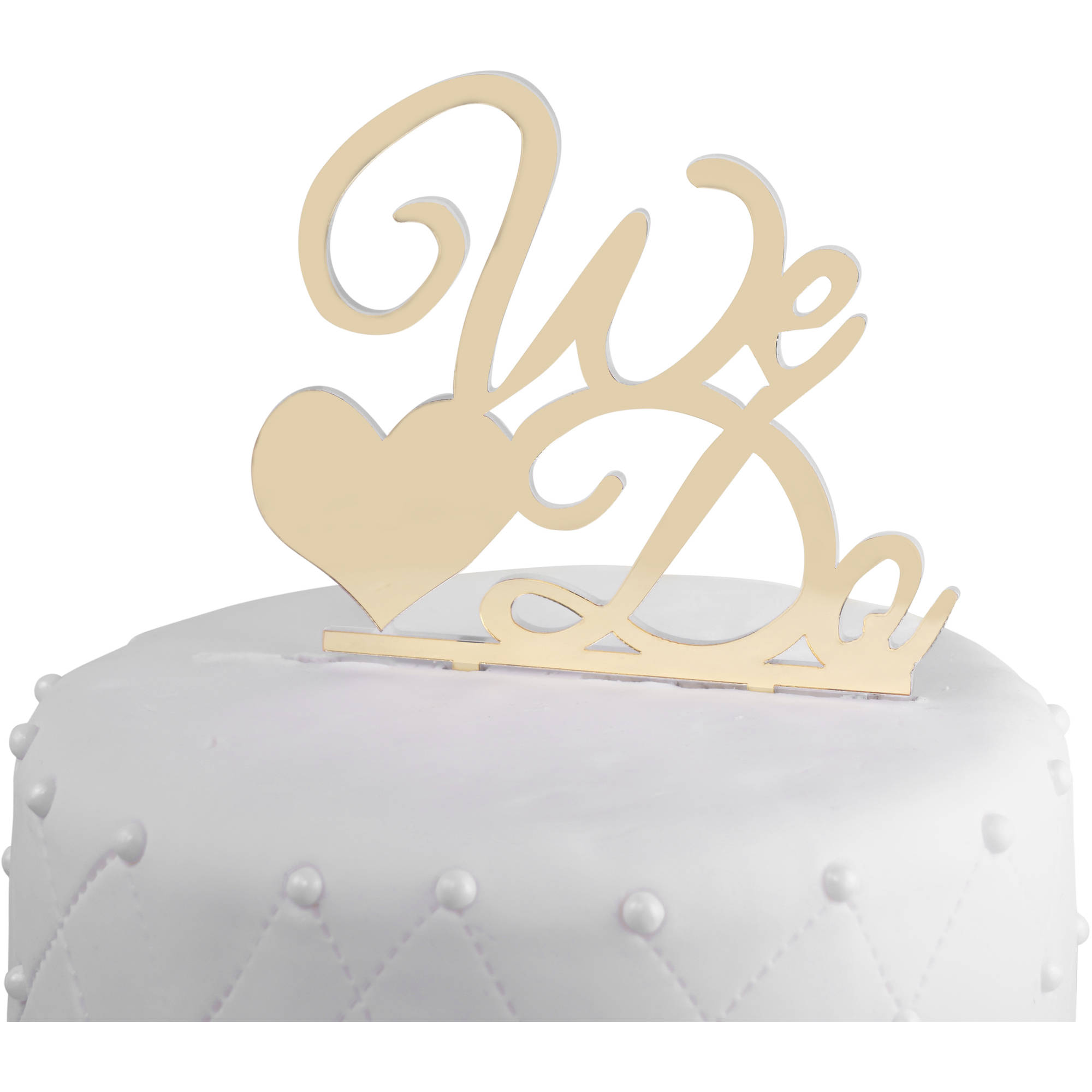 "Unik Occasions ""We Do"" Acrylic Wedding Cake Topper, Gold Mirror"