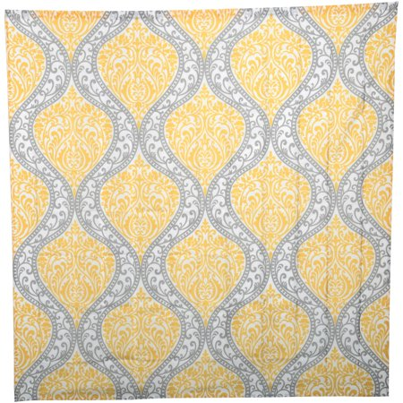 Mainstays Yellow Damask Faux Silk Fabric Shower Curtain 1 Each