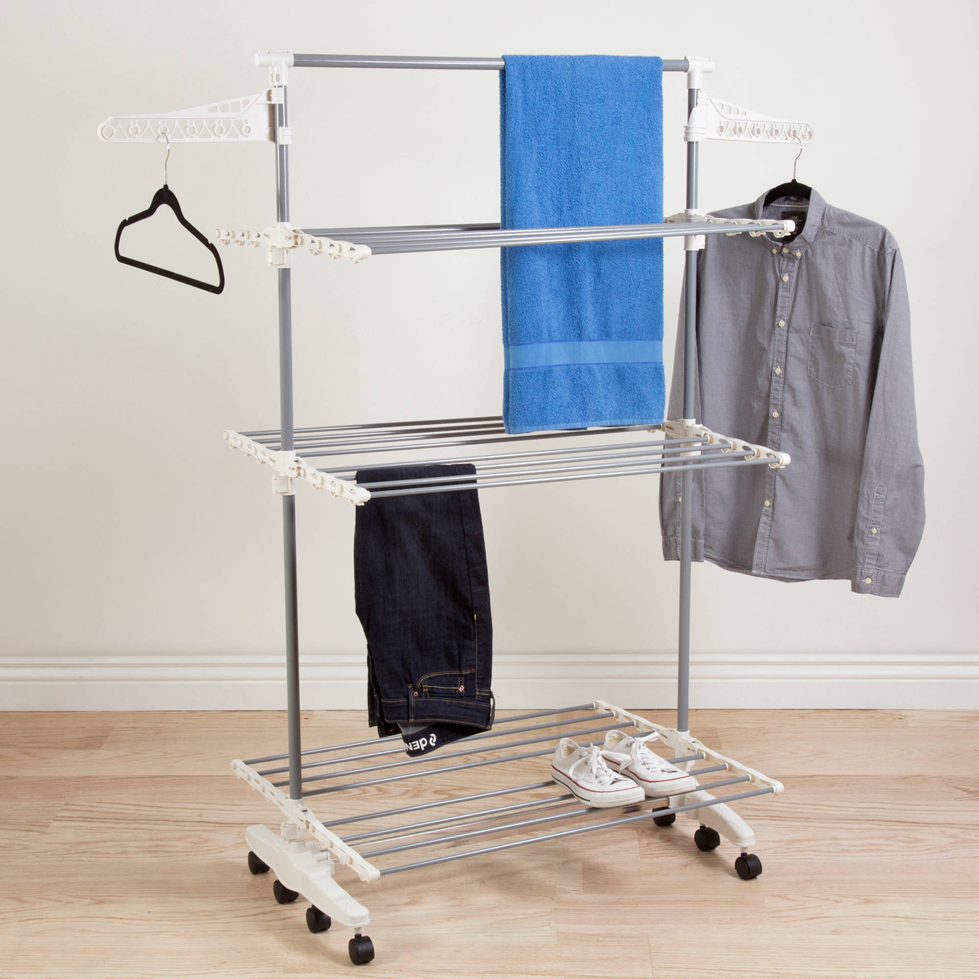 Everyday Home Rolling Stainless-Steel Drying Rack Over 8 Transitions