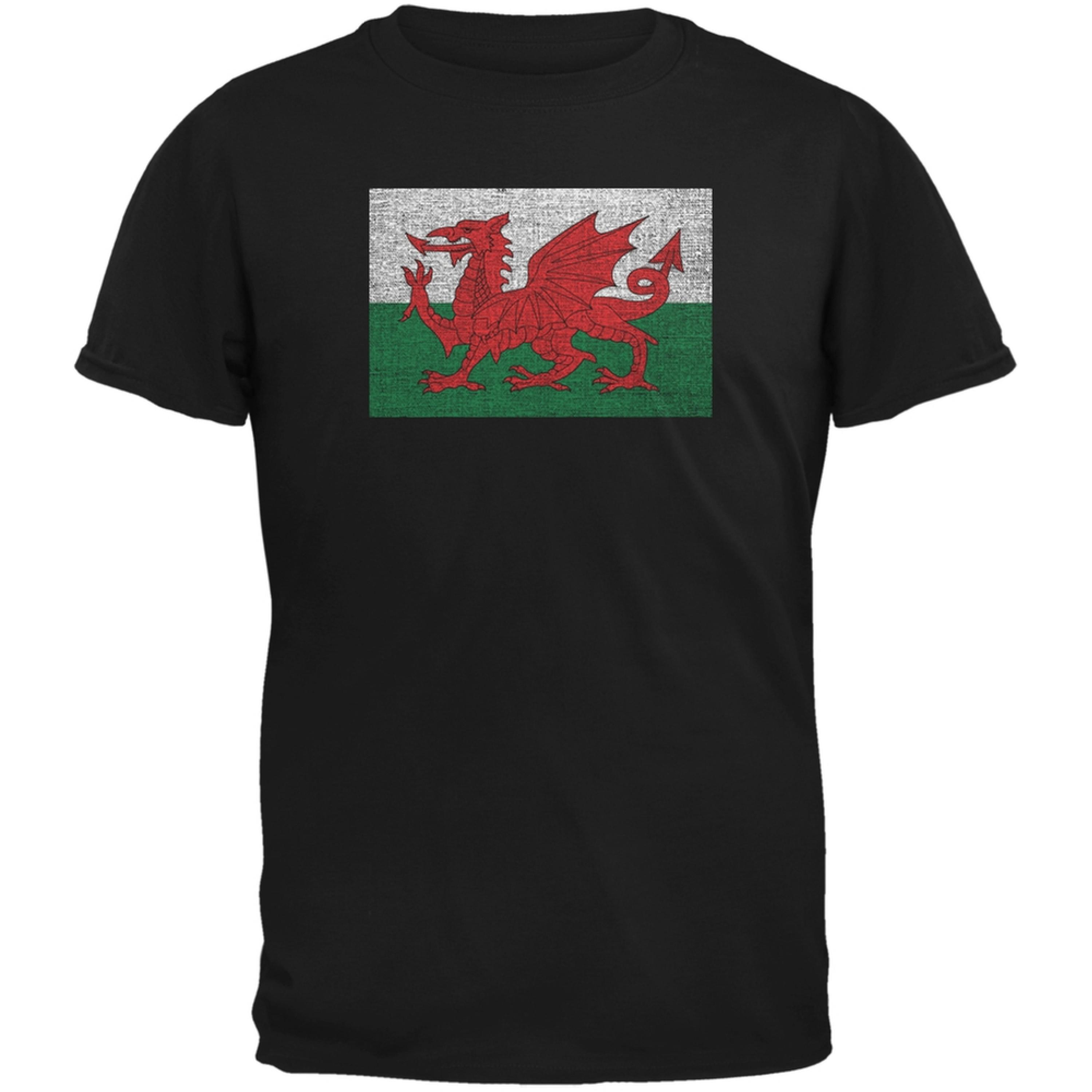Welsh Flag Distressed Black Adult T-Shirt