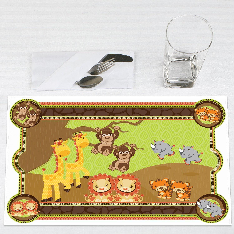 Twins Funfari Fun Safari Jungle Party Placemats Set of 12 by Big Dot of Happiness, LLC
