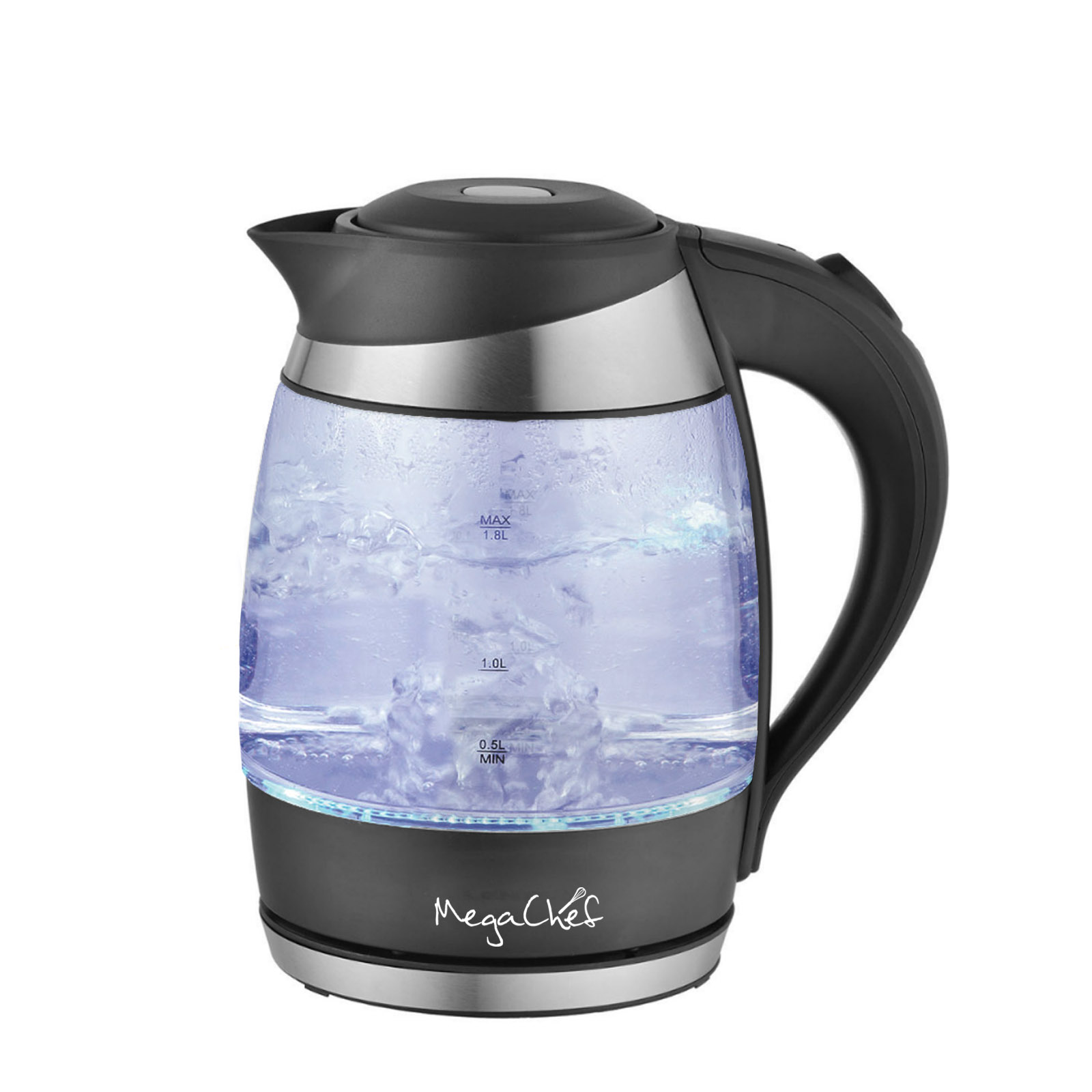 MegaChef 1.8Lt. Glass and Stainless Steel Electric Tea Kettle