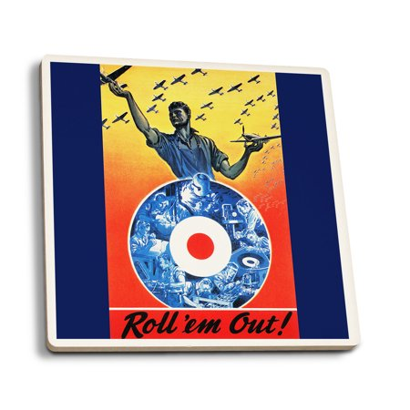 Roll Em Out Royal Canadian Air Force Wwii   Vintage Propaganda Poster  Set Of 4 Ceramic Coasters   Cork Backed  Absorbent