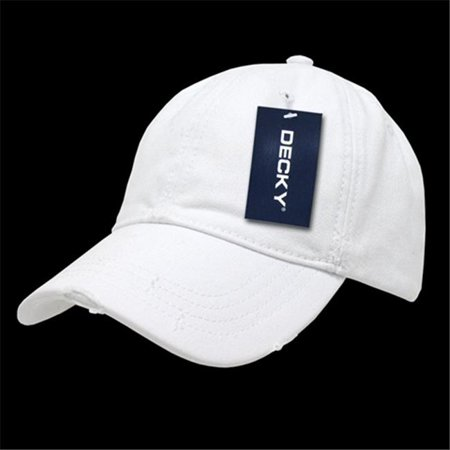 Decky 860-PL-WHT-01 Vintage Fitted Polo Caps, White - Small