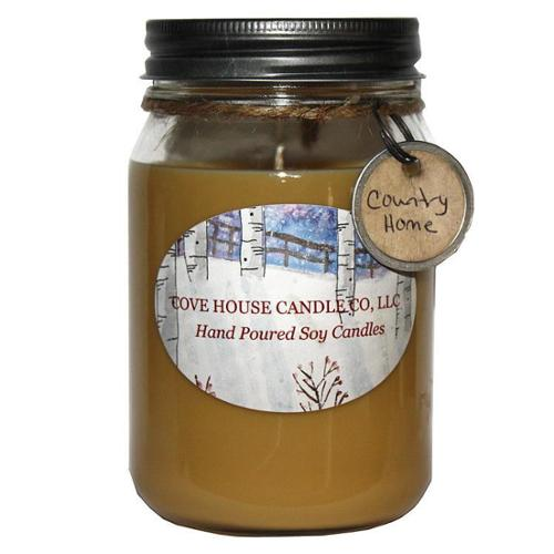 Scented Tan 16-ounce Canning Jar Soy Candle 16oz Brandied Pear