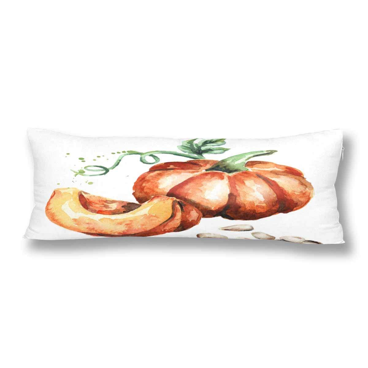 ABPHOTO Big Pumpkin with Seeds and Green Escape Body Pillow Covers Pillowcase 20x60 inch Watercolor Pumpkin Body Pillow Case Protector