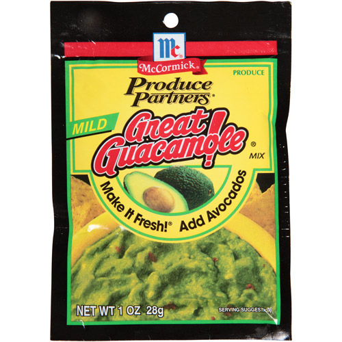 McCormick Produce Partners Great Guacamole! Mild Seasoning Mix, 1 oz, (Pack of 12)