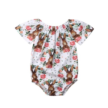 6700b2f8b3d4 CHRONSTYLE - Infant Baby Girl Easter Bunny Floral Short Sleeve One ...