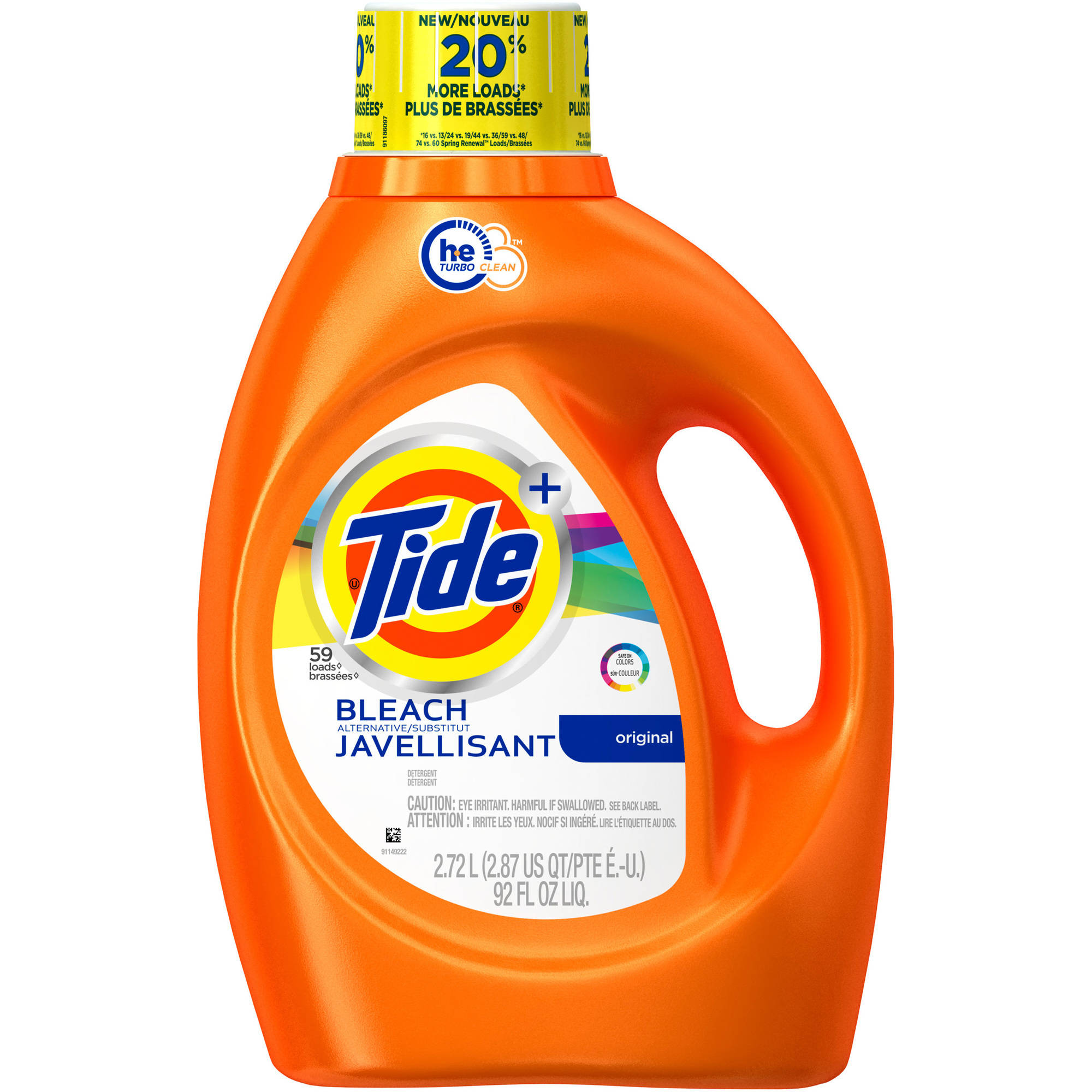 Tide Plus Bleach Alternative HE Turbo Clean Liquid Laundry Detergent, 48 Loads 92 oz