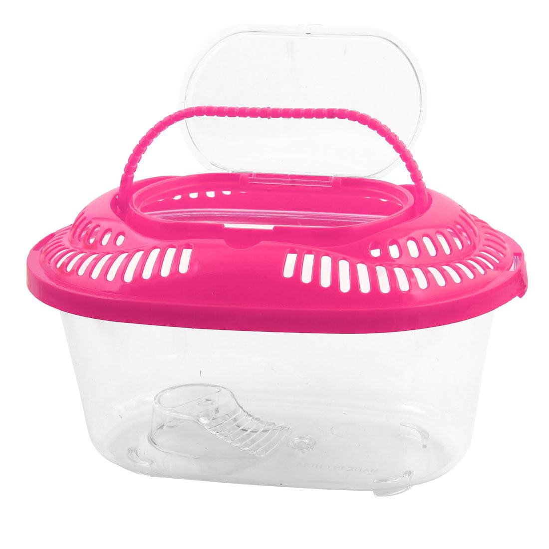 Plastic Oval Design Aquarium Betta Fish Tank Pet Feed Box Pink