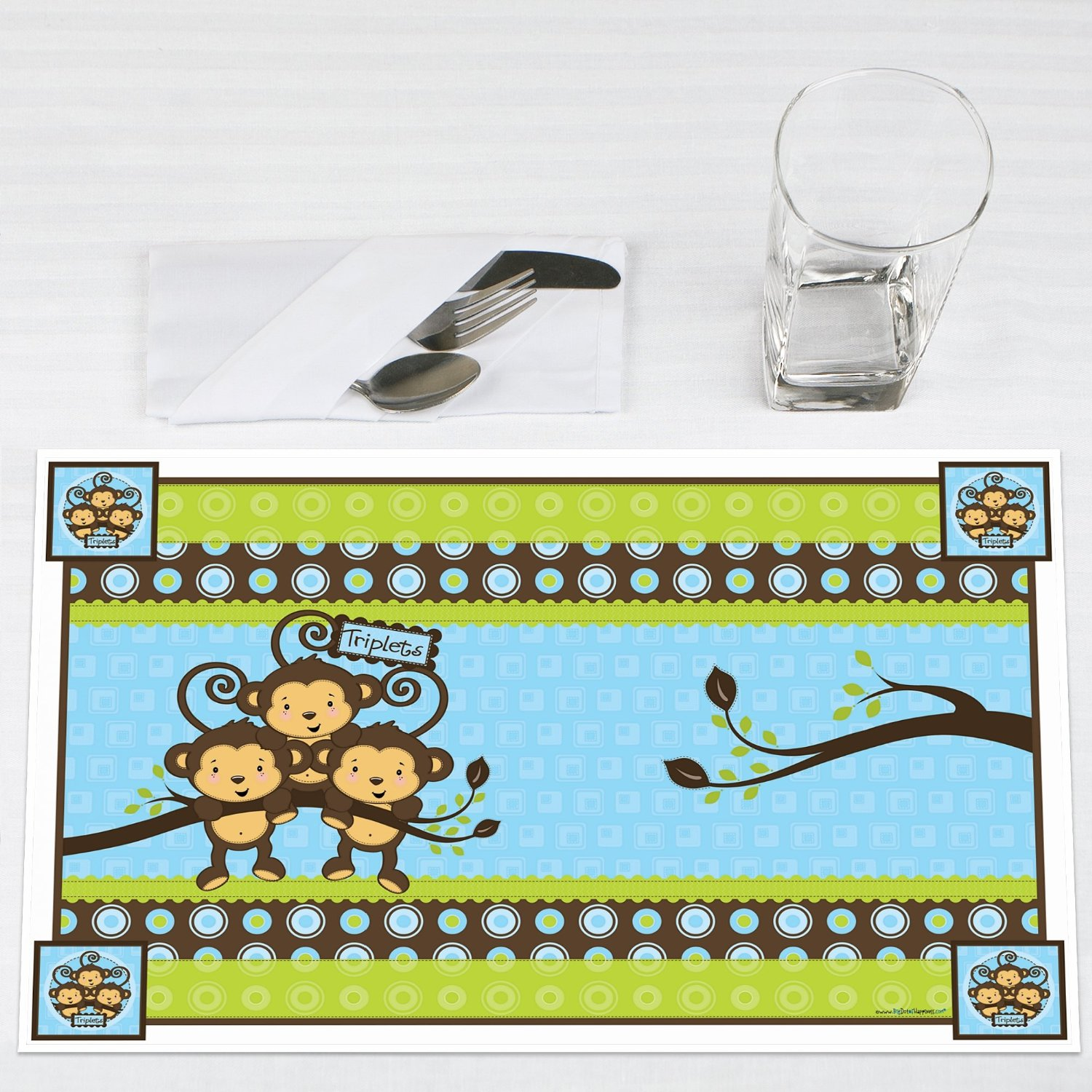 Triplet Monkey Boys Party Placemats Set of 12 by Big Dot of Happiness, LLC