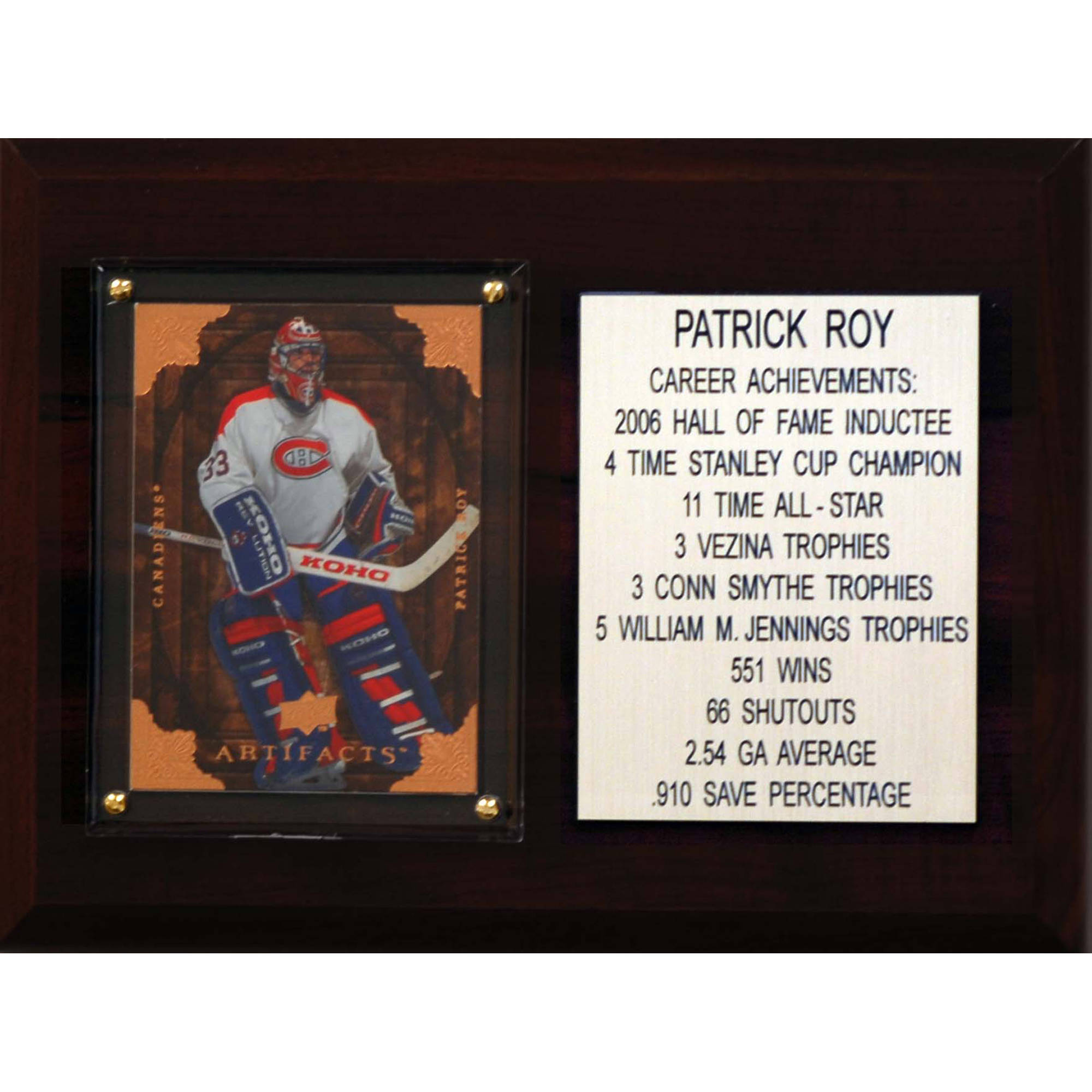C&I Collectables NHL 6x8 Patrick Roy Montreal Canadiens Career Stat Plaque