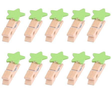 Home Wooden Star Shaped DIY Craft Photo Picture Post Card Decor Clip Green 10pcs - Wooden Halloween Crafts Adults