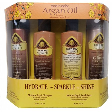 Precious Moroccan Argan Oil - one'n only ARGAN OIL 4-Piece Set * HYDRATE, SPARKLE & SHINE *, Argan Oil Travel/Trial Size 4-Piece Set in Box that help hydrate, moisturize and add shine to your hair. By Moroccan Argan
