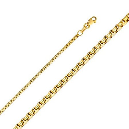 14k Yellow Fashionable (14K Yellow Gold Men Women's 1.8MM Flat Box Chain Lobster Clasp (16) )