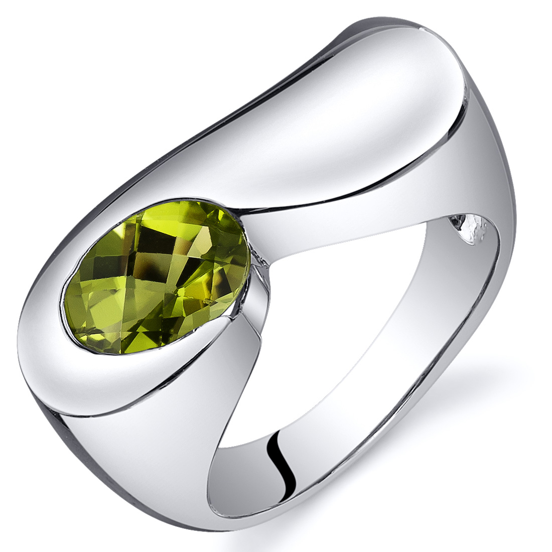Peora 1.25 Ct Peridot Engagement Ring in Rhodium-Plated S...
