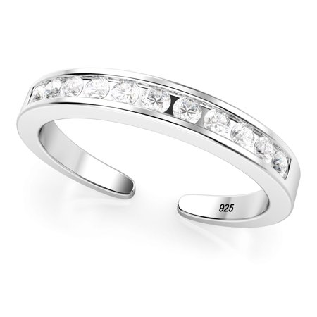 Sterling Silver Cubic Zirconia Adjustable Toe Band Ring (Adjustable Star Toe Ring)