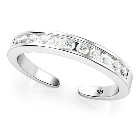 Sterling Silver Cubic Zirconia Adjustable Toe Band Ring