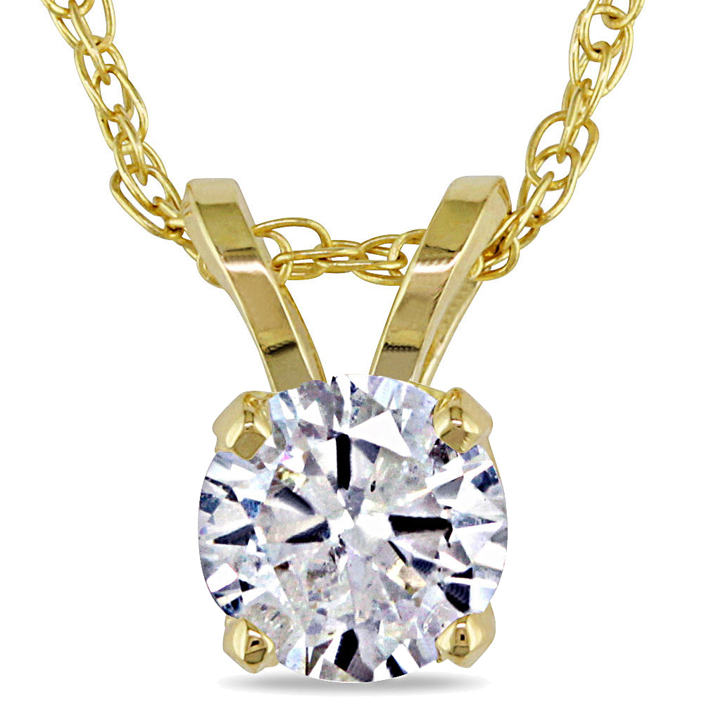 1 2ct Solitaire Round Diamond Pendant 14K Yellow Gold (I2-I3) by Pompeii3