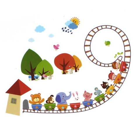 Maison pouponni re pvc d cor style cartoon animal pistes for Autocollant mural walmart