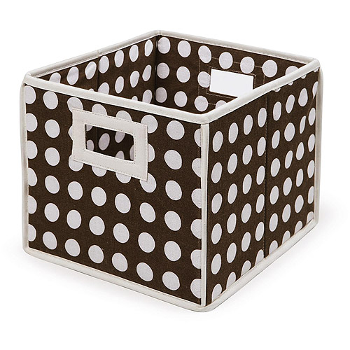 Badger Basket - Folding Basket, Brown Polka Dot