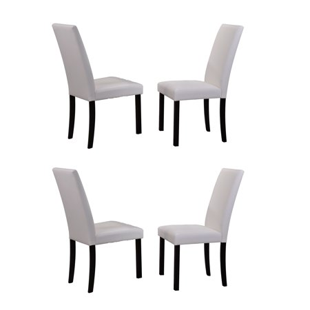 Pleasing August Parsons Dining Chairs White Faux Leather Black Wood Legs Transitional Set Of 4 Ibusinesslaw Wood Chair Design Ideas Ibusinesslaworg