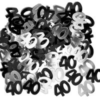 3 x 14g 40th Black Happy Birthday Party Glitz Table Confetti Sprinkles Decorations