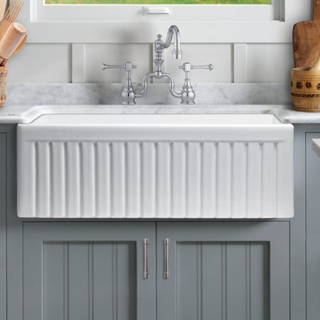 Reversible Fireclay Farmhouse Sink (Sutton Place Reversible Farmhouse Fireclay 33 in. Single Bowl Kitchen Sink in White with Grid and)